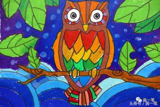 蜡笔画:立春过后,桃红柳绿,燕子归巢,春天的气息来啦