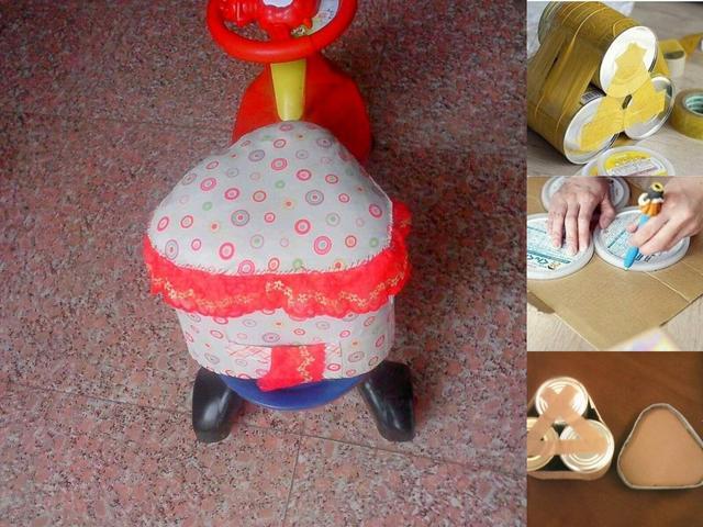 空瓶子废物利用_宝妈废物利用,空奶粉罐做成了宝宝的小沙发,小