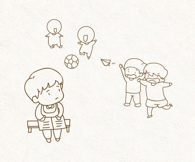 小女孩拍球简笔画