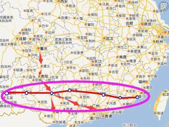 線路規劃為起于云南昆明,經興義,河池,桂林,韶關,梅州,到達福建廈門圖片