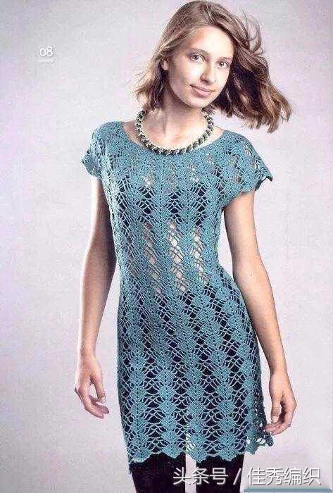 钩针连衣裙编织图解 一款漂亮的蕾丝钩针裙子