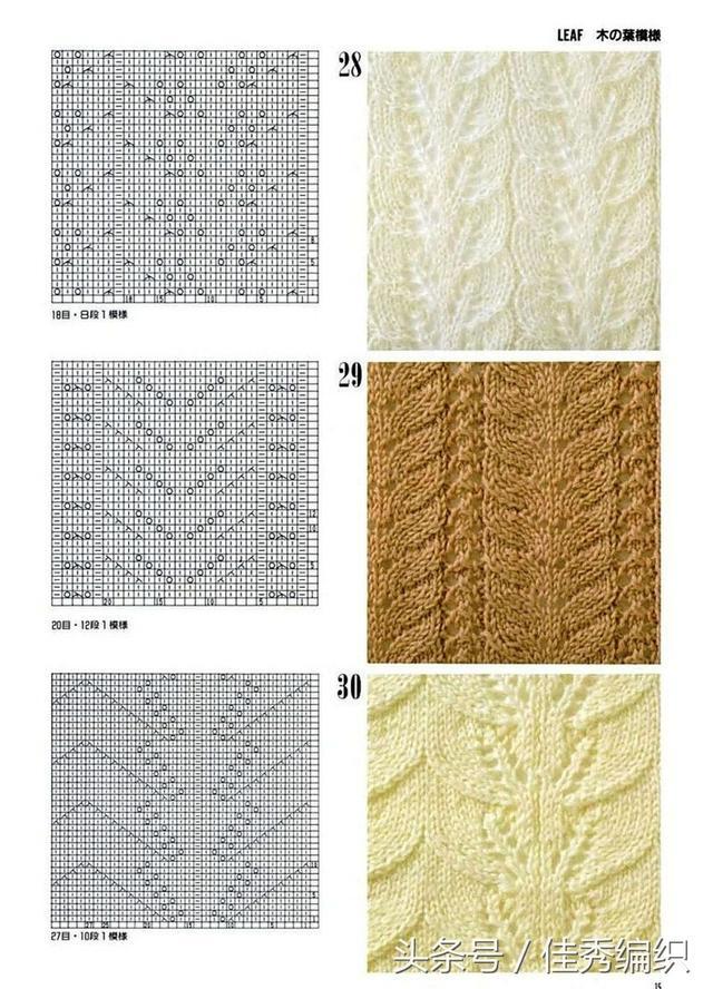 30种毛衣编织花样图解大全 棒针镂空花样图解