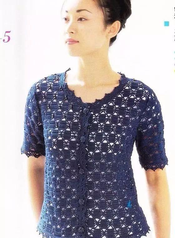 钩针编织教程图解 一款时尚的钩针花样编织出多款夏季小衫外套