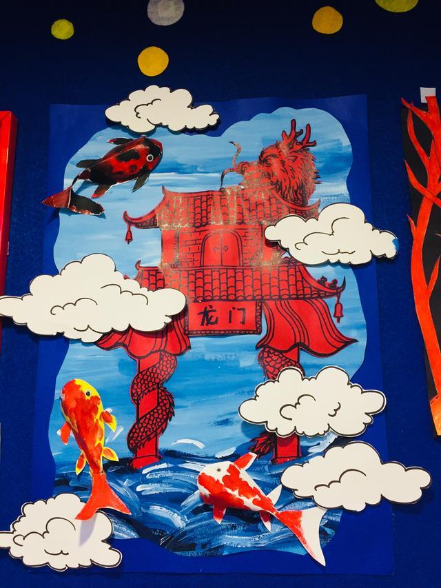 木马创意美术综合类手工作品《鲤鱼跃龙门》