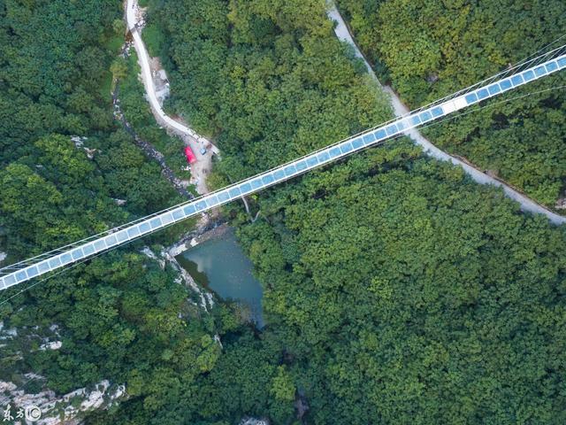 2018年9月11日辽宁省本溪市航拍南芬大峡谷玻璃桥