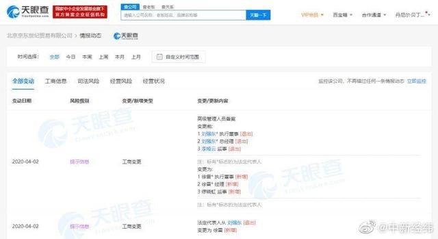 红星新闻■刘强东卸任京东法定代表人、执行董事
