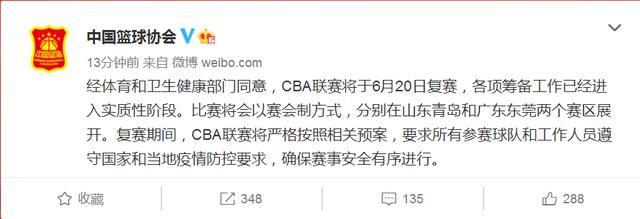 人民日报中国篮协:CBA联赛6月20日复赛