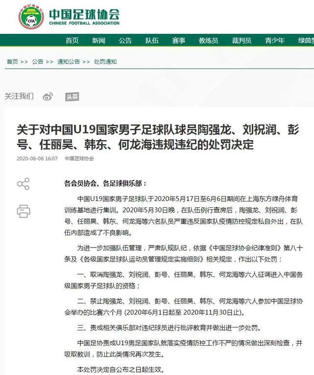 新民晚报中国足协:取消六名违规国青队员入选国家队资格并禁赛六个月