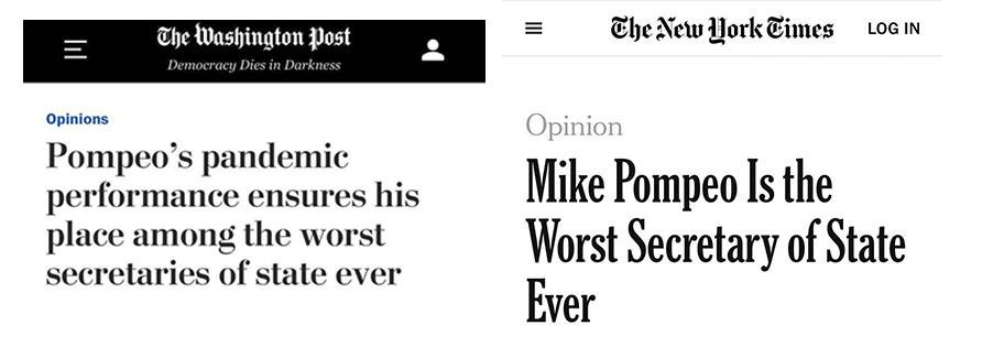 央视新闻客户端美媒刊文再批蓬佩奥:史上最差国务卿 没有之一