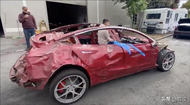 阿虎汽车▲损毁一半以上的特斯拉还能开?这辆Model 3改装后,让人惊讶了