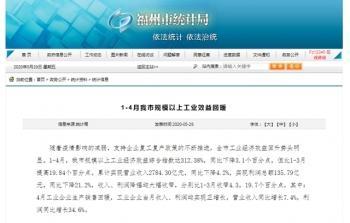 「台海网」1-4月,福州规模以上工业经济效益综合指数达312.38%