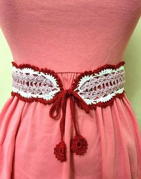 26款钩编腰带,姑娘们收好,自己钩一条,搭配衣服好用!收藏